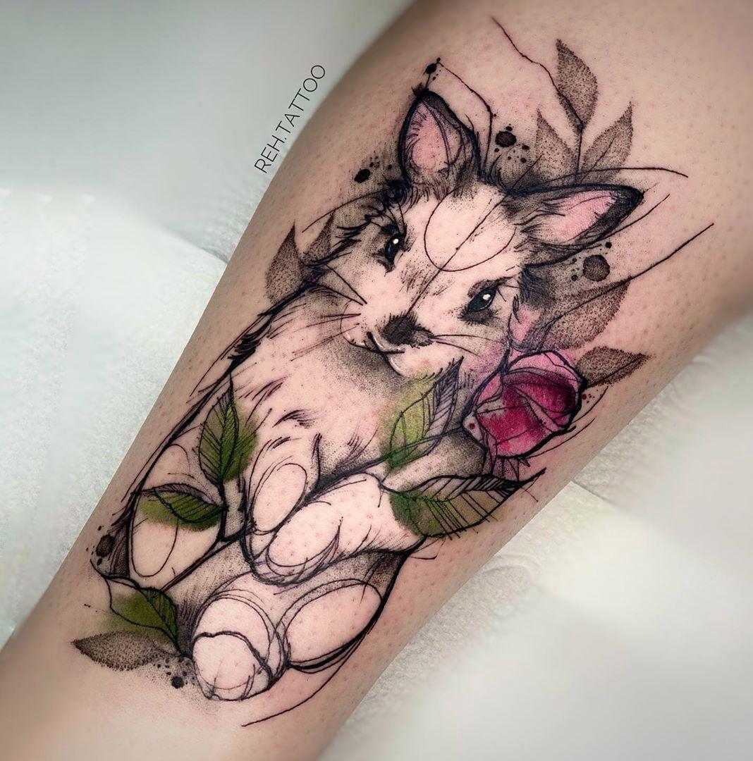 Rabbit & Rose Tattoo
