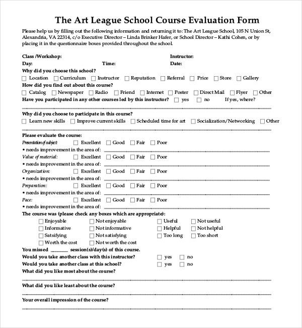 sample course evaluation forms efficiencyexperts - sample workshop evaluation form example