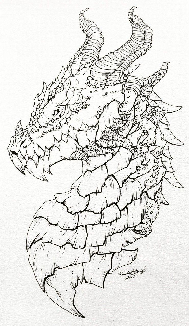 Dragon side profile tattoo style graphite pencil and pigma