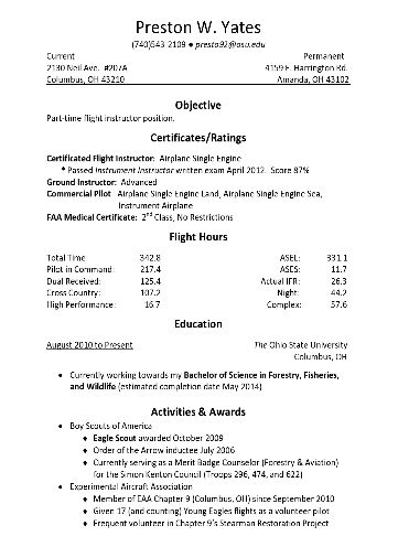 Sample Pilot Resume Professional Pilot Resume Template