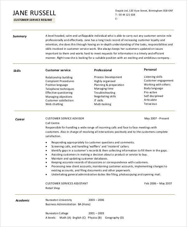 resume summary statement examples customer service unforgettable example resume summary statement