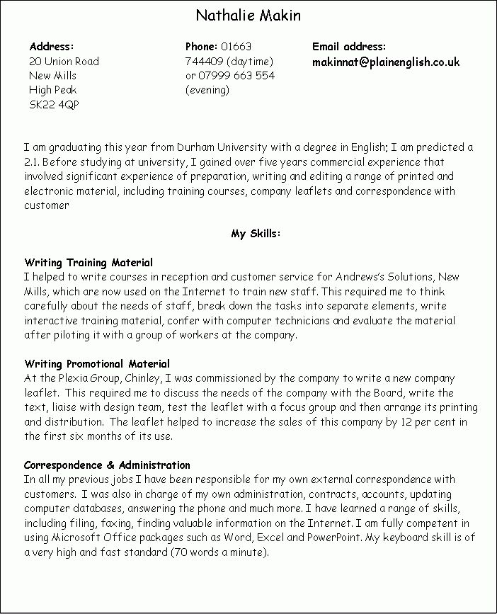 Personal Skills Examples For Resume - Examples Of Resumes
