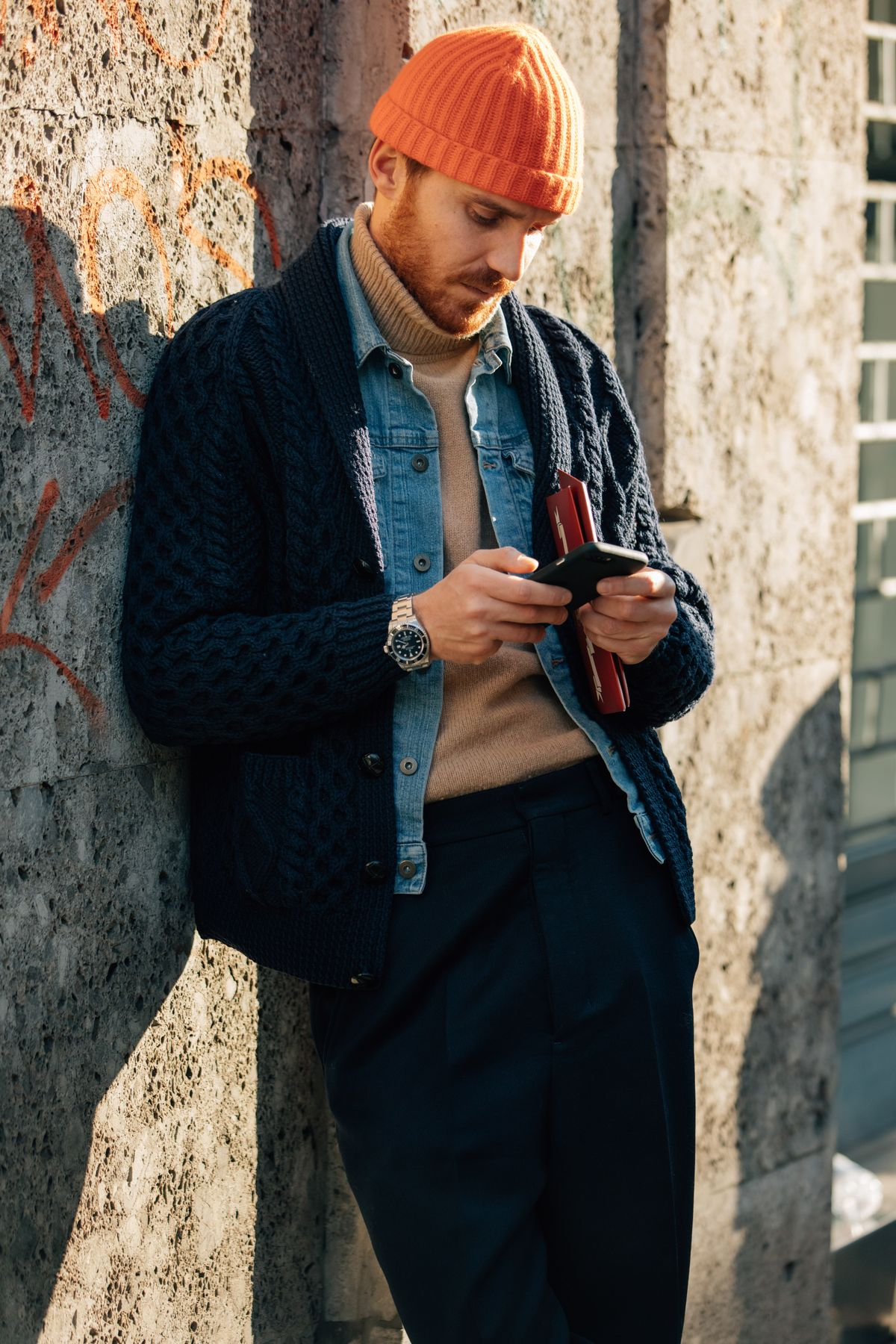 knitted over jacket and denim jacket and turtle neck sweater