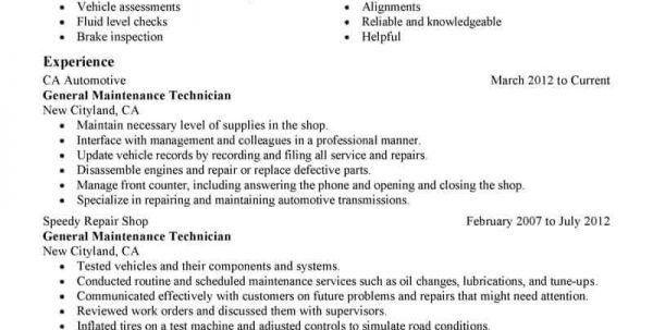 Auto Mechanic Resume Objective Unforgettable Automotive