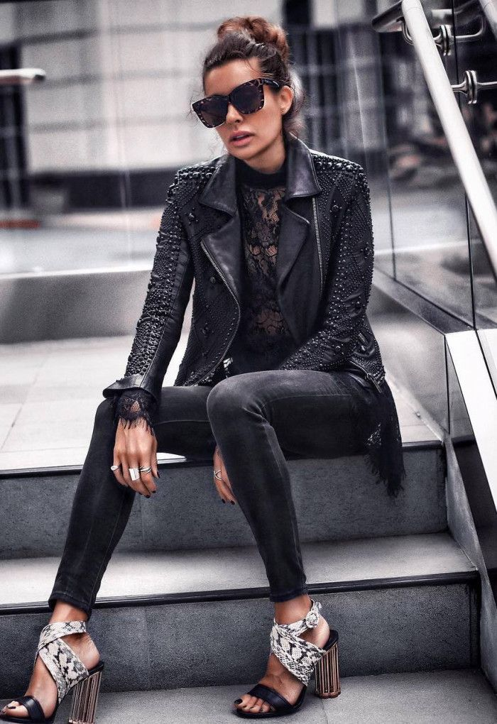 incredible fall outfit / moto jacket high neck top skinny jeans heels
