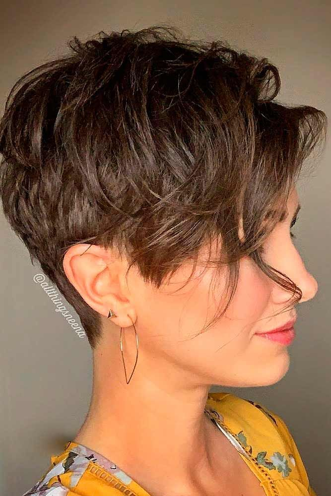 Long Pixie Cut With Swoopy Layers #brownhair #layeredhairstyles ★  A long pixie cut is something that every woman should try in her life! Here, we are sharing the latest ideas of pulling off the trend. Edgy asymmetrical variations, ideas with undercut and bangs, and messy curly looks for blonde and brunette girls are waiting for you. #glaminati #lifestyle #longpixiecut