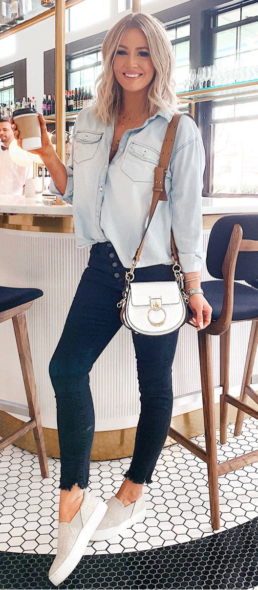 blue long sleeved shirt and black jeans outfit #spring #outfits
