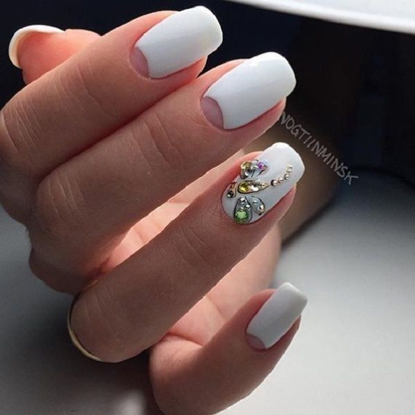Stoned Half Moon Nail Art Design. Have you tried the half moon nail art lately? If not, then this can be your first half moon nail art enhanced with different shiny elements.