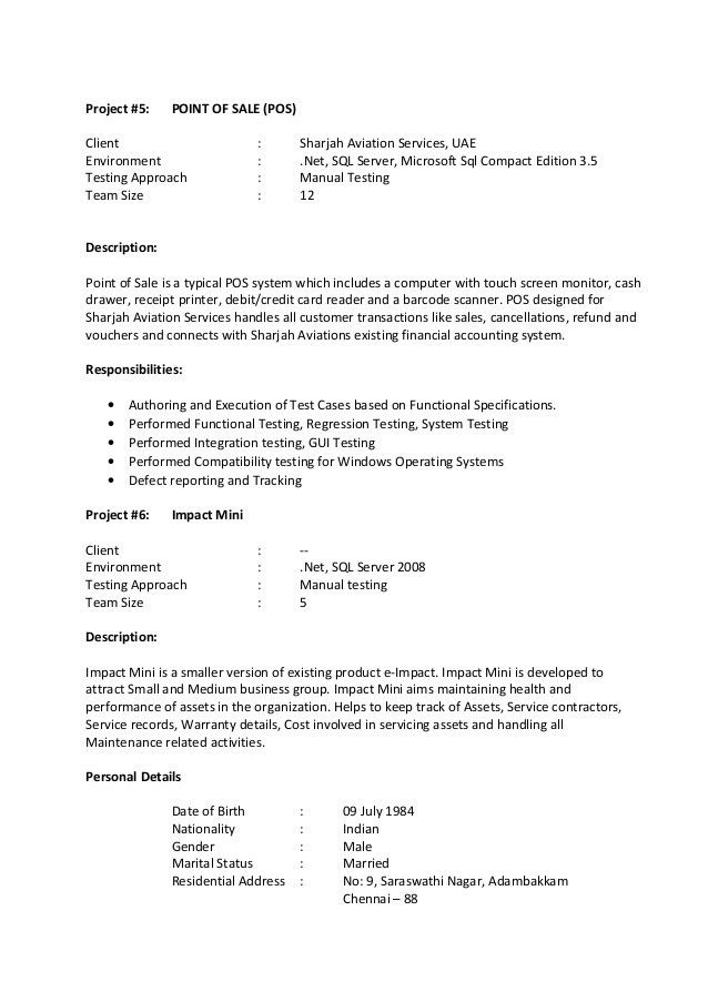 manual testing resume format samples resume format manual testing resume