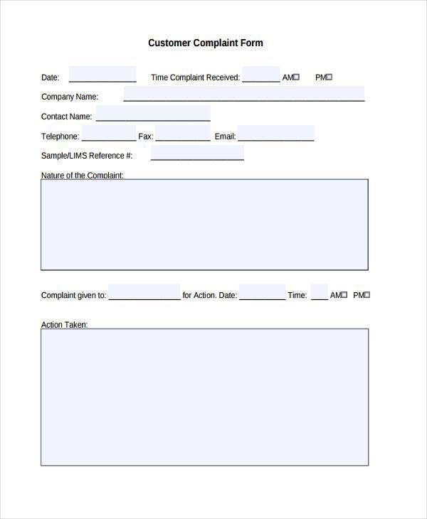 Customer Complaints Form Template Customer Complaint Form - sample consumer complaint form