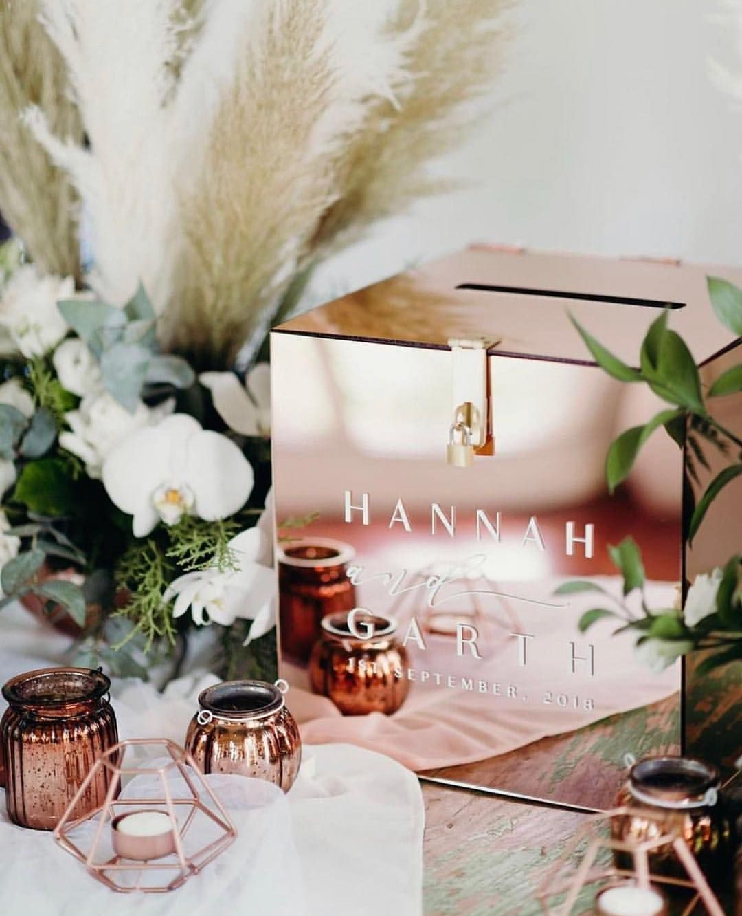 chic rose gold wedding post box for gifts wedding ideas