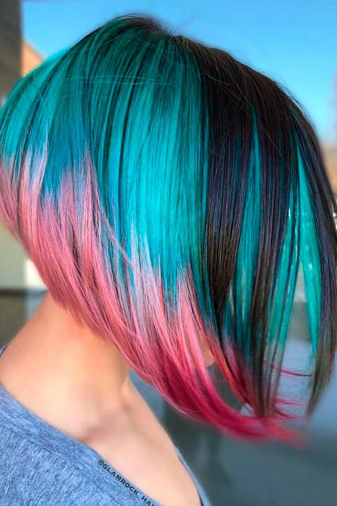Blue And Pink Gradient Hair #colorfulhair #alinehairstyles ★ All the inverted bob hairstyles: stacked, choppy, short, curly, with side bangs, with layers, are gathered here! #glaminati #lifestyle #invertedbob