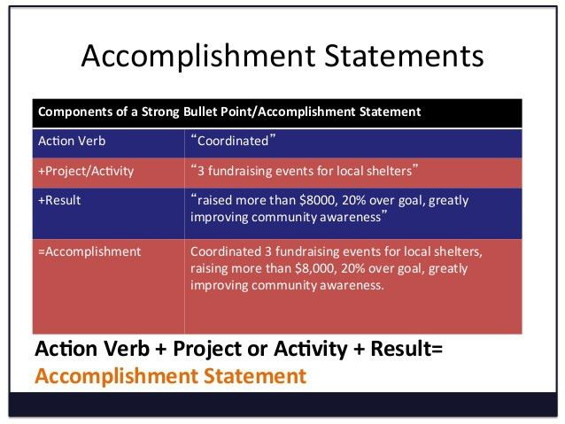 Resume Accomplishment Statements Examples accomplishment statements - resume accomplishment statements examples