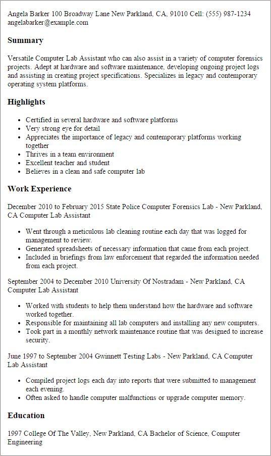 Sample Resume For Laboratory Technician] Laboratory ...