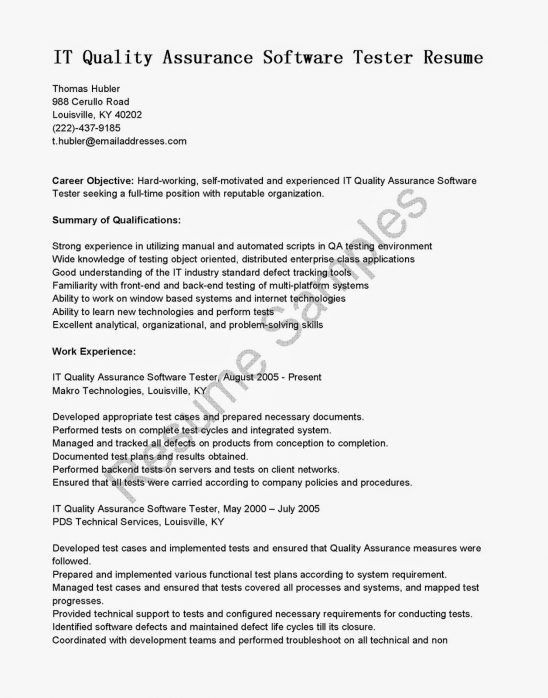manual testing resume resume experienced tester resume example 1