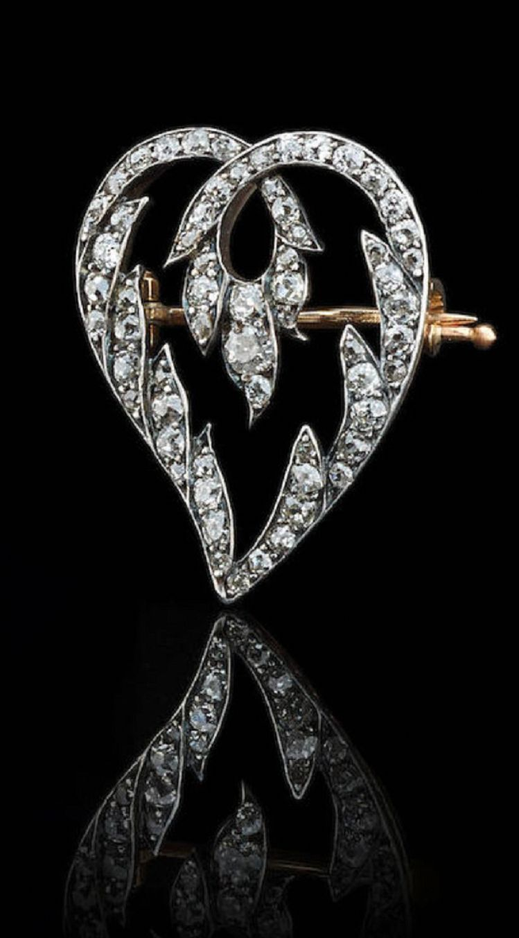 """Fedor Afanas'ev – A Belle Epoque gold and diamond brooch, St. Petersburg, circa 1911. Of heart-shaped form, with two foliate branches forming a loop on top, set with old-cut diamonds, 56 standard. Height: 3.2cm. <a class=""""pintag"""" href=""""/explore/diamondbrooches/"""" title=""""#diamondbrooches explore Pinterest"""">#diamondbrooches</a><p><a href=""""http://www.homeinteriordesign.org/2018/02/short-guide-to-interior-decoration.html"""">Short guide to interior decoration</a></p>"""