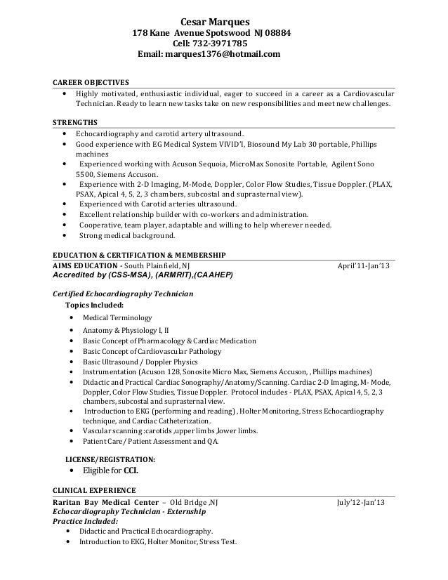 rad tech resume