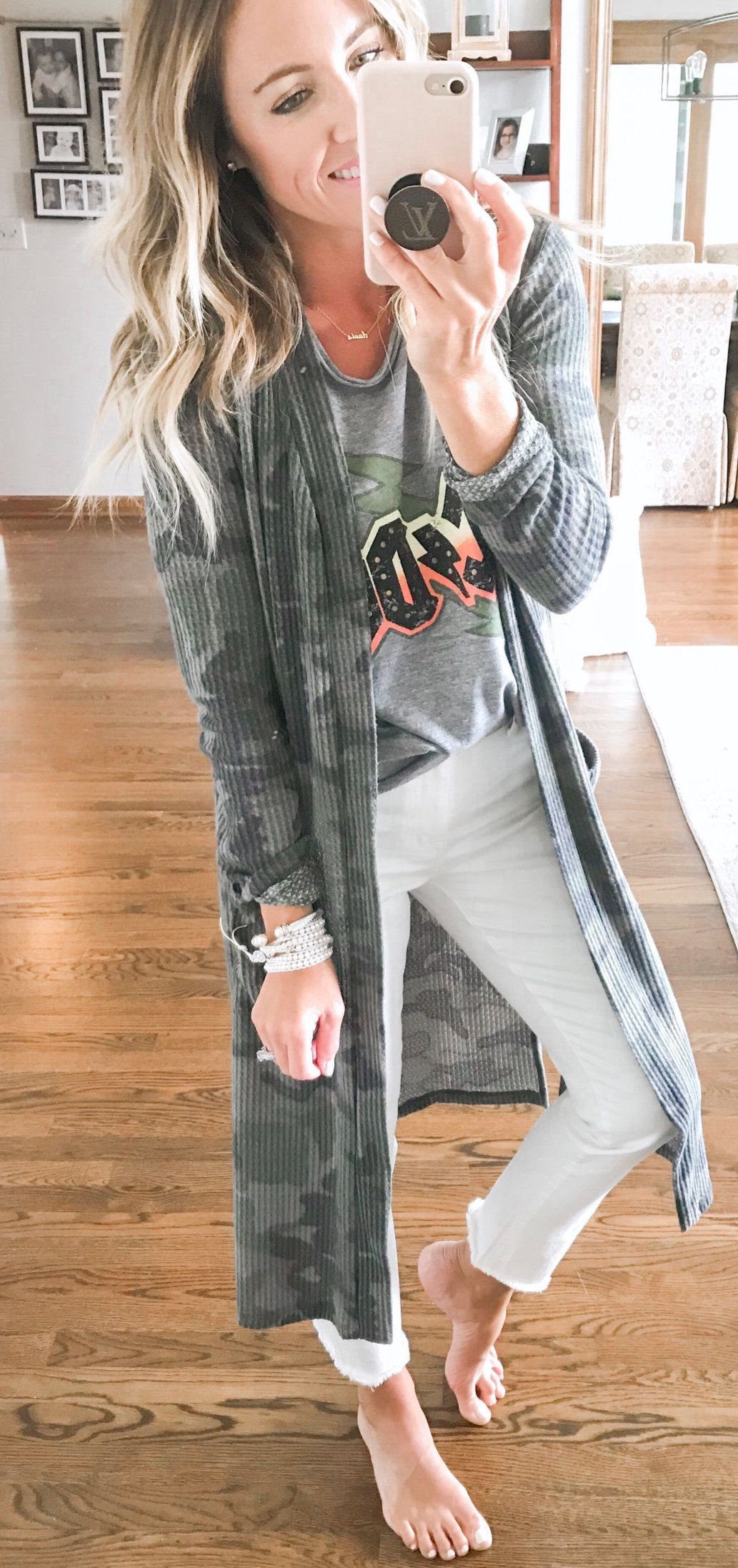 black and grey striped camouflage long cardigan #summer #outfits