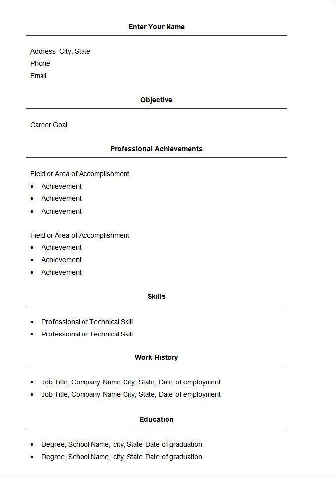 Free And Easy Resume Builder Basic Resume Template 51 Free - basic resume builder