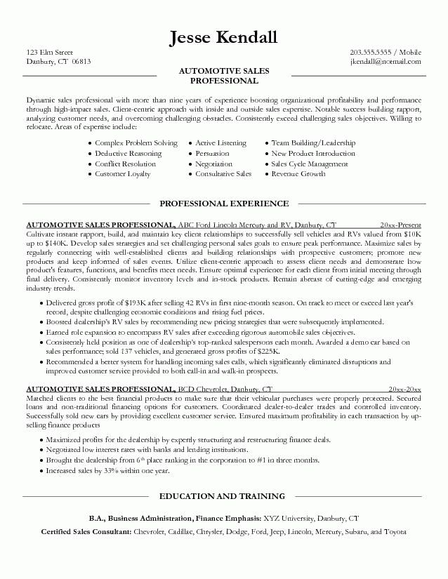 auto sales manager resume cv cover letter