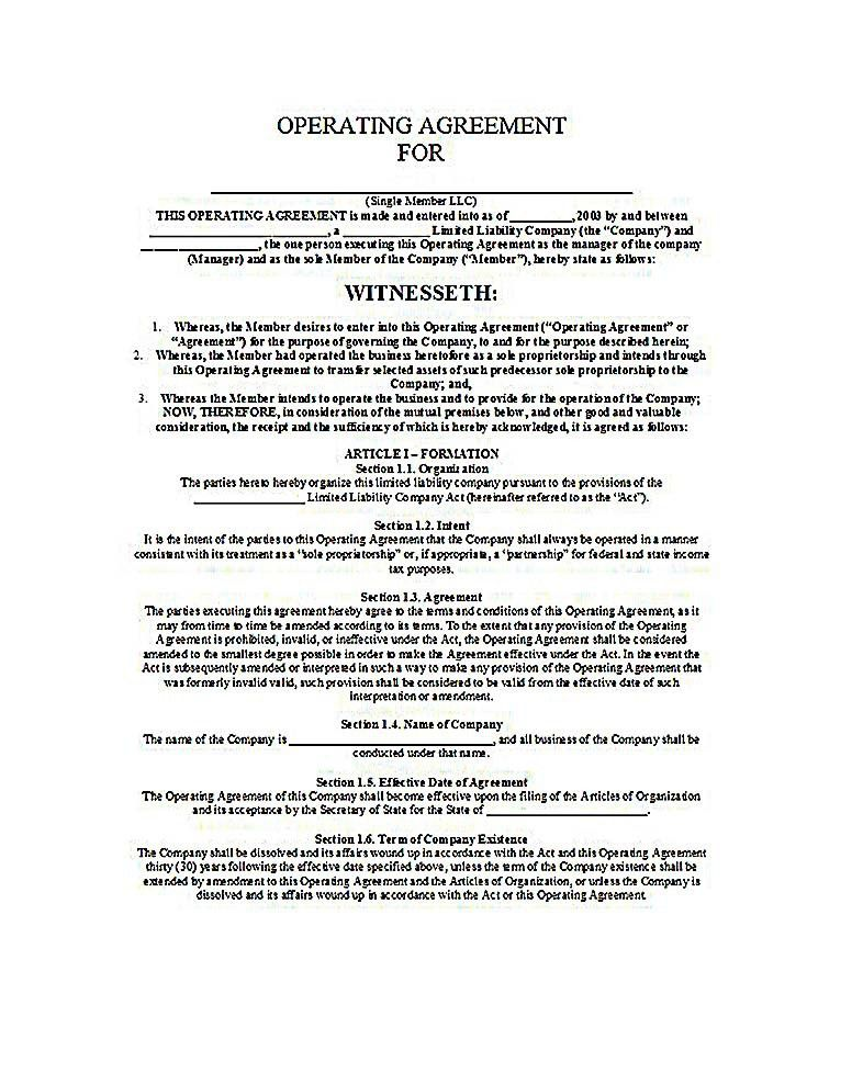 Operating Agreement Template Llc Operating Agreement Sample - business operating agreement