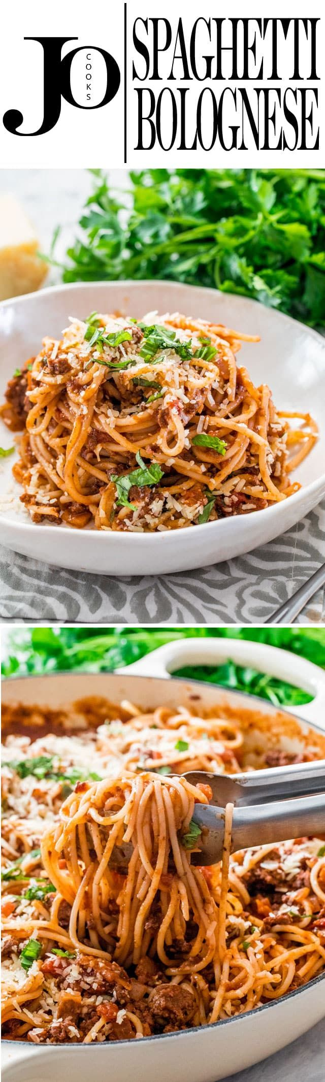 Spaghetti Bolognese is a classic Italian meat sauce that is a staple in most families. My super simple Spaghetti Bolognese is the perfect dinner for any night of the week and will wow your family or guests. www.jocooks.com #spaghettibolognese
