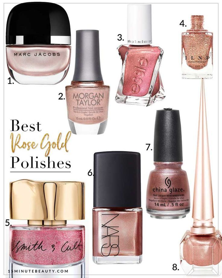"""I know this color has been """"in"""" for a while now, but I'm still pretty obsessed with Rose Gold and can't get enough of it! I have Rose Gold everything, so of course I've been loving Rose Gold Nail Polish as well! It turns out that there are surprisingly fe"""