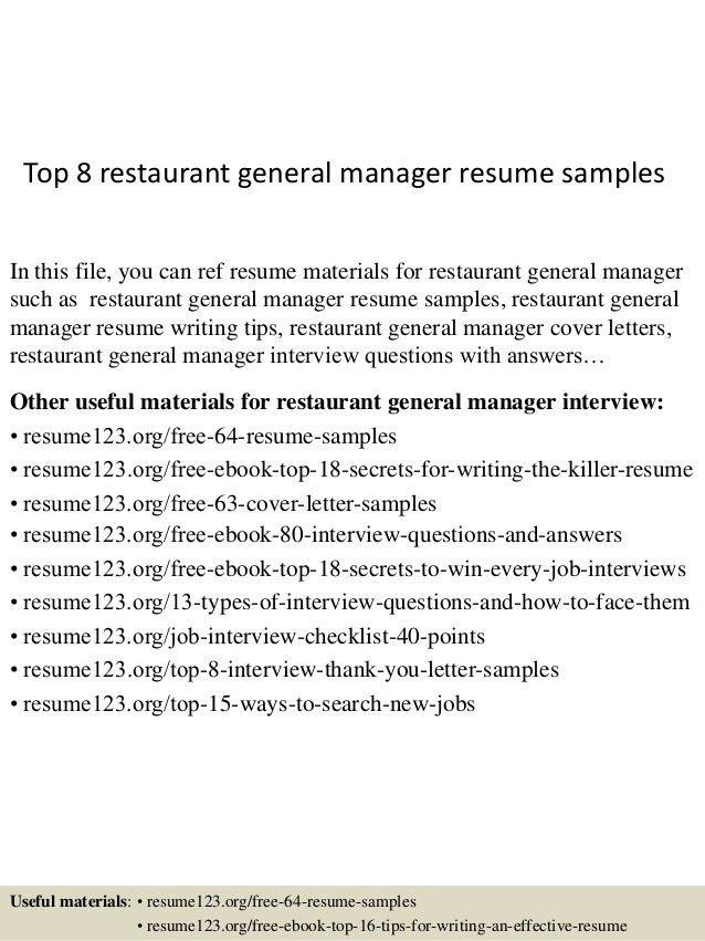 Sample Restaurant Resumes 18 Amazing Restaurant Bar Resume - restaurant manager resume template