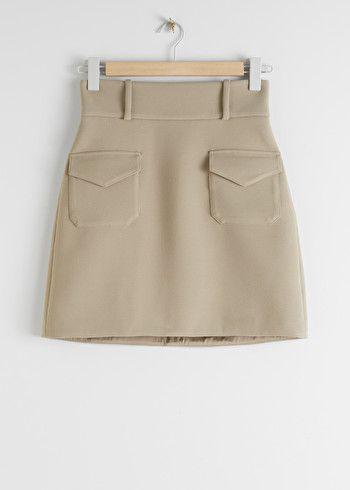 Duo Pocket Mini Skirt - Beige - Mini skirts - & Other Stories