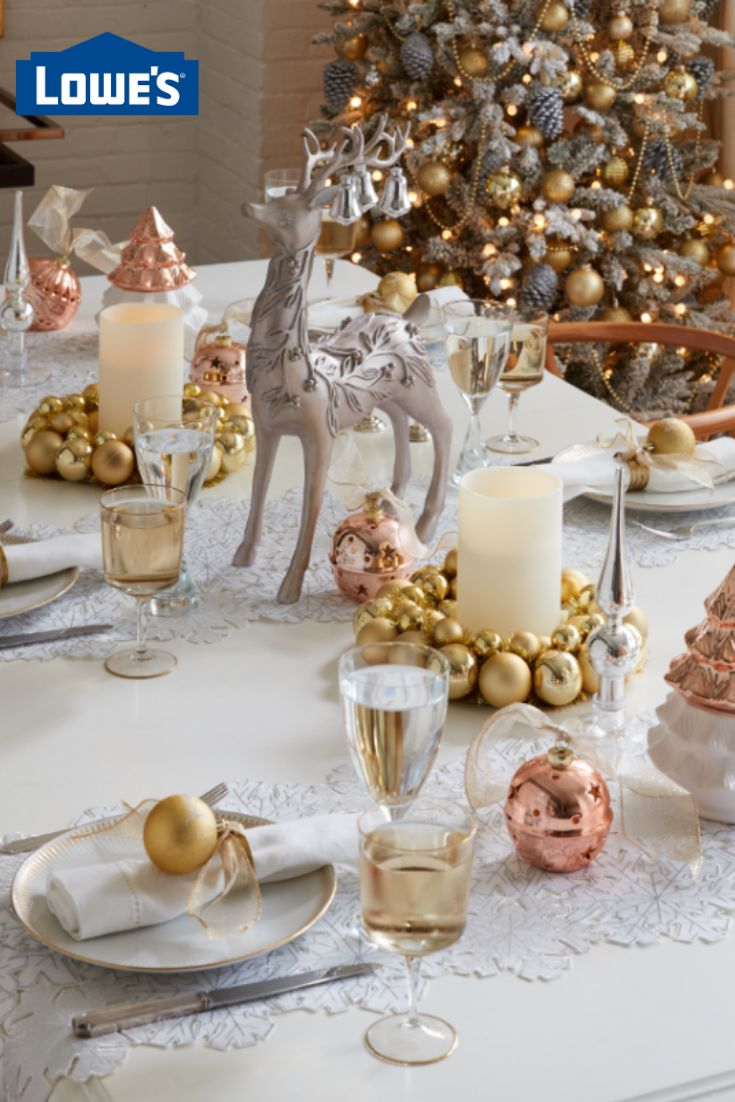 Mix and match gold and rose gold and transition Christmas decor into beautiful New Year's Eve decorations. #lowes #christmas #newyearseve #homedecor