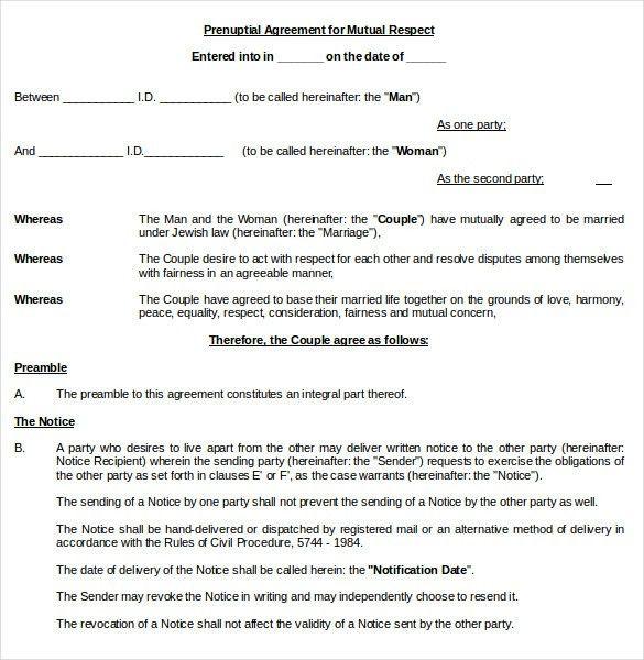 Mutual Understanding Agreement Format Mutual Non Disclosure - sample prenuptial agreement template