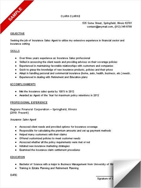 Insurance Sales Resume Sample Agent Resume Example Insurance