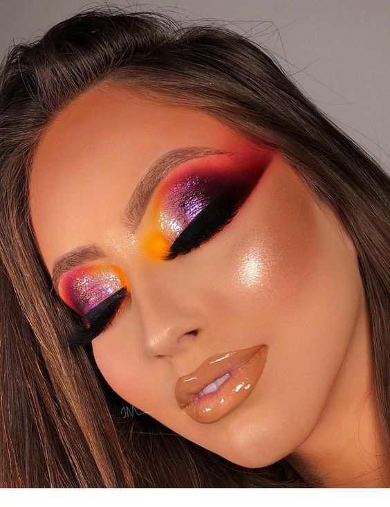 Glam colorful eye makeup and lips