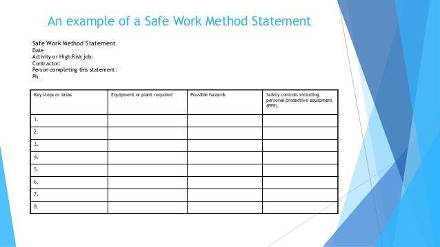 Work Method Statement Example Sample Method Statement Template 8 - method of statement