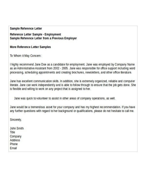 Letter Of Rec Template Download A Free Letter Of Reference - format for letter of reference