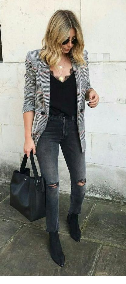 Black top, jeans and plaid blazer