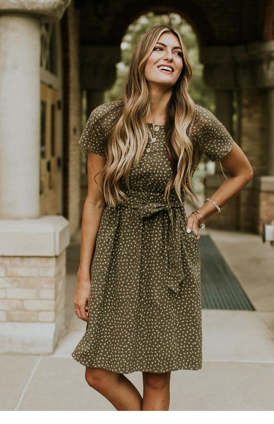 Cute olive dress with polka dots