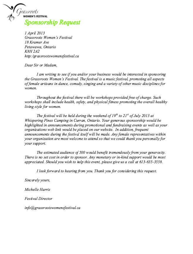 Request For Sponsorship Letter Sample Sample Of A Letter Of - event sponsorship letter sample