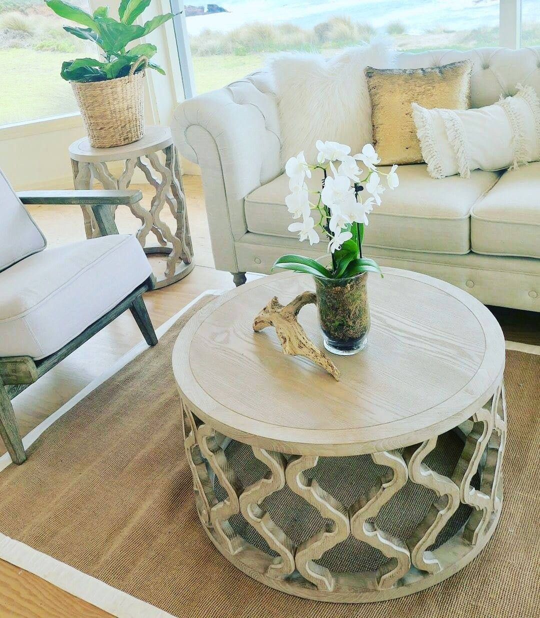 Featuring Our Hamptons Coastal Oak Quatrefoil Round Coffee Table
