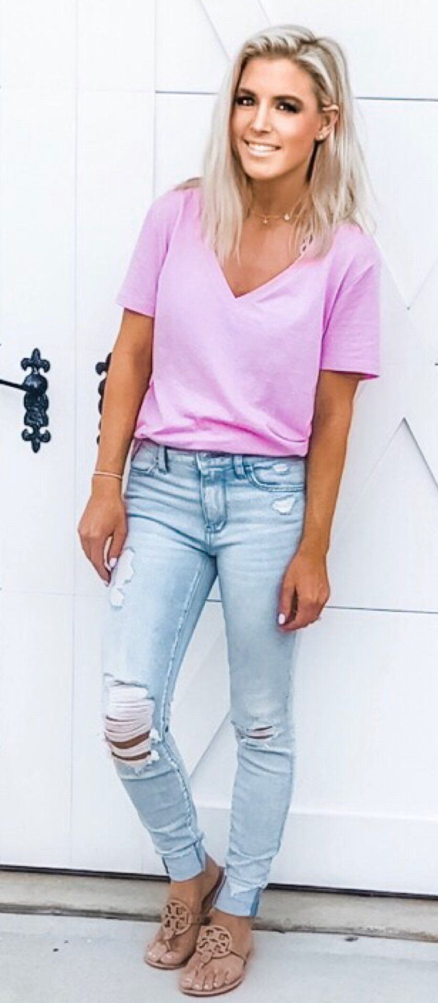 pink shirt #spring #outfits
