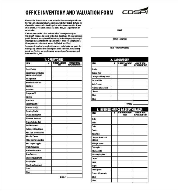 Inventory List Form Inventory List Templates Free Download - inventory list example