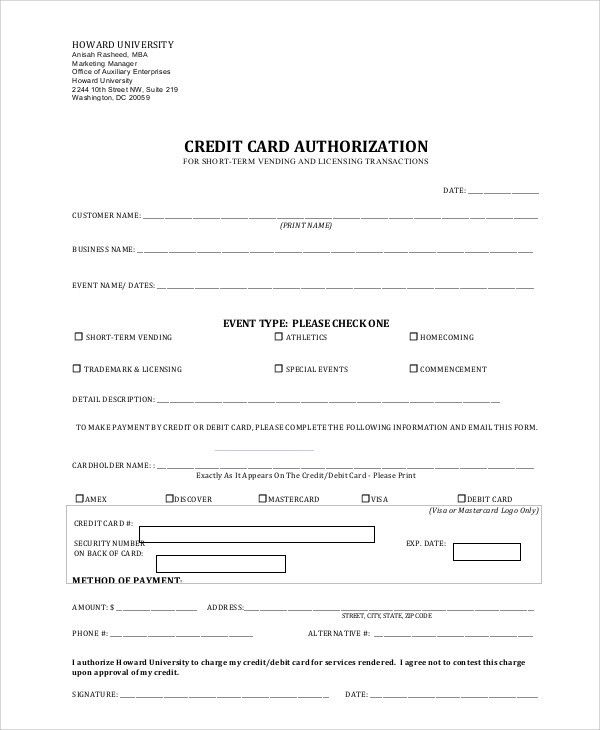 Credit Card Authorization Forms credit card authorization form - credit card form
