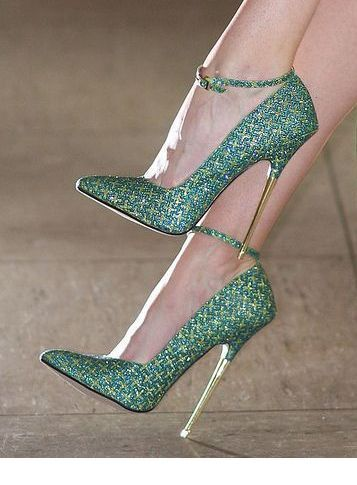 Chic green high heels with gold details