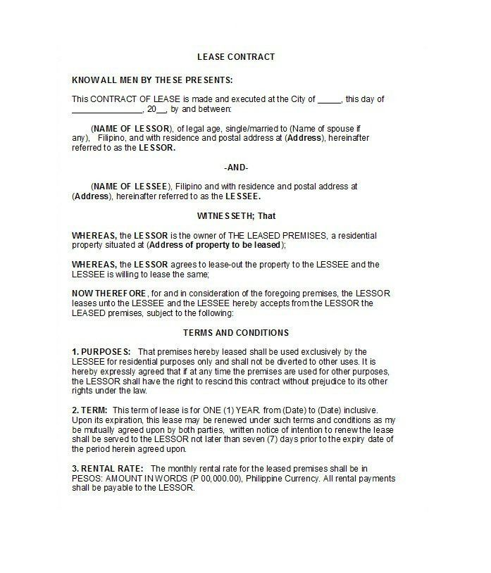 Car Lease Contract Template - Eliolera - rent contract templates