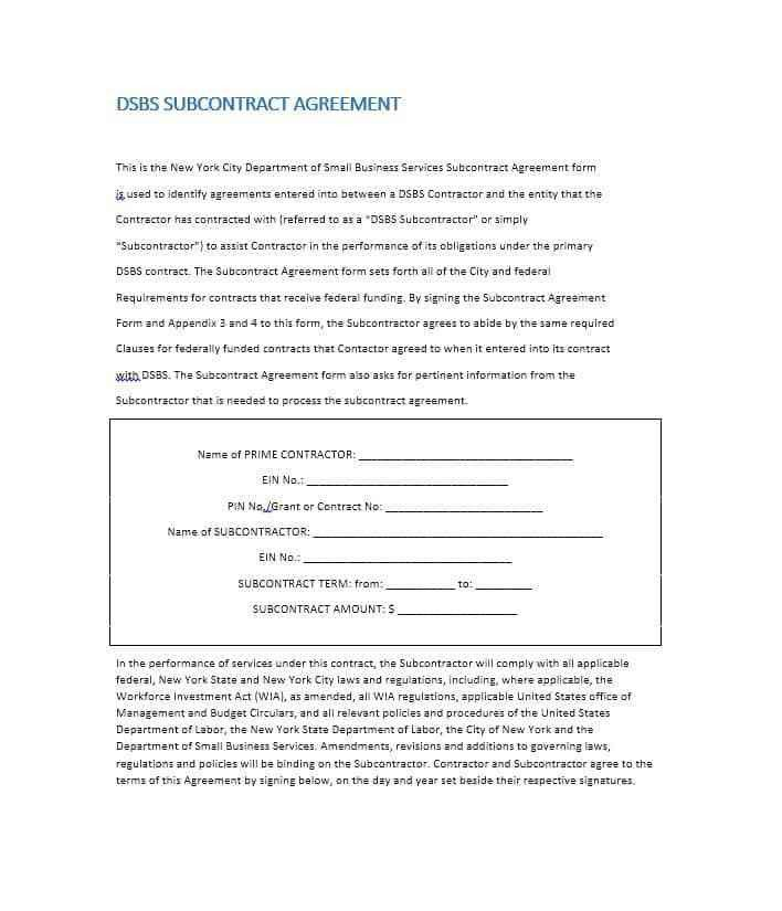 Contractor Agreement Form Independent Contractor Agreement - sample subcontractor agreement