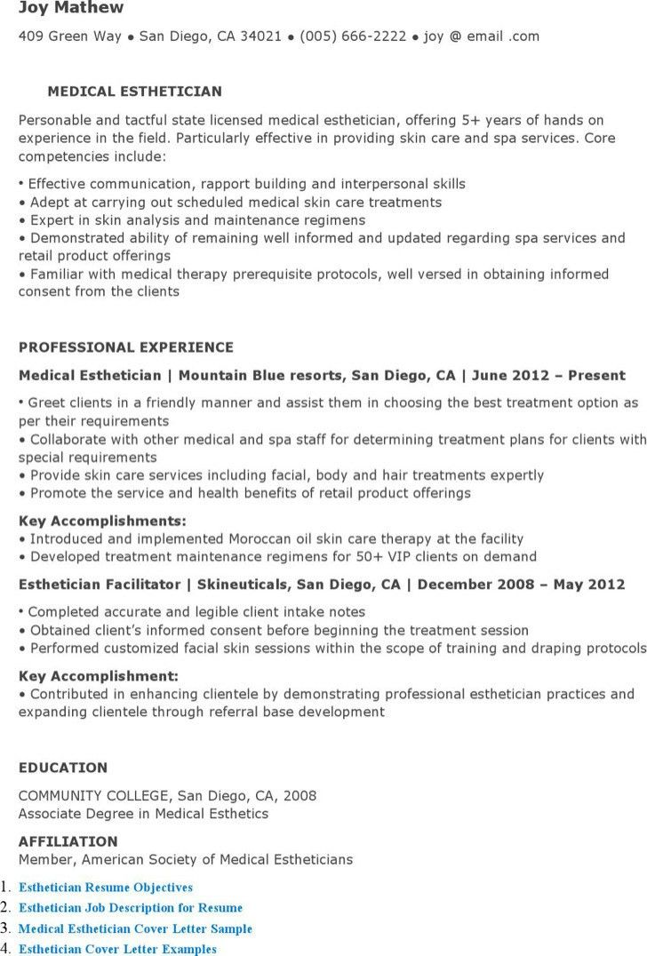 medical esthetician resumes