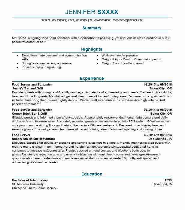 resume objective for restaurant