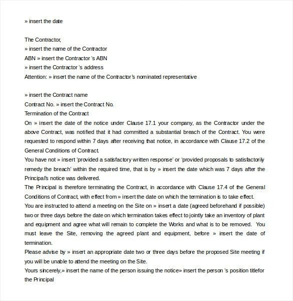 Agreement Termination Letter Format Contract Termination Letter - termination contract sample