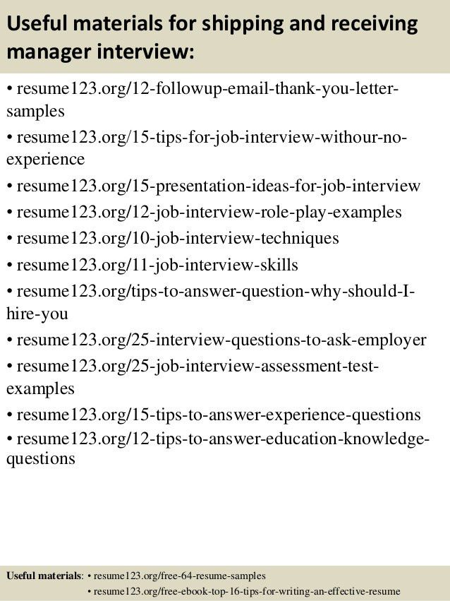 shipping and receiving resumes