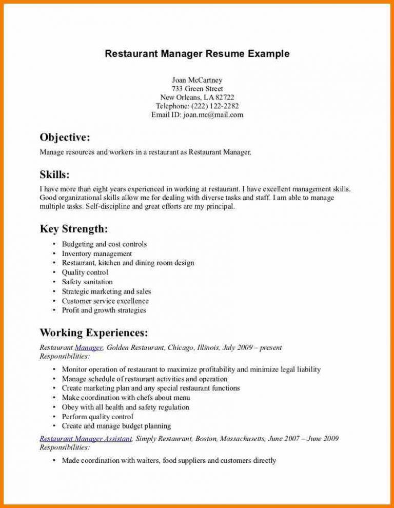 Example Of Restaurant Manager Resume Skills Restaurant Manager  Kitchen Manager Resume